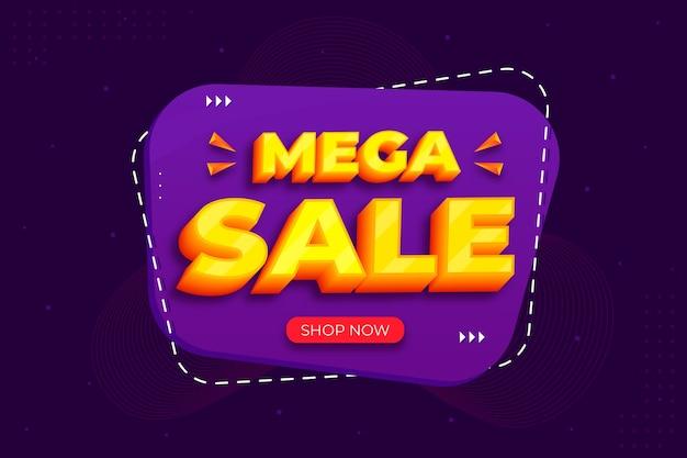 Fondo de diseño 3d de mega venta mínima vector gratuito