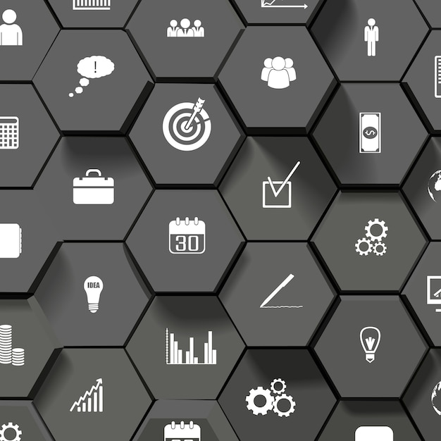 Fondo de diseño abstracto negro con iconos de negocios planos vector gratuito