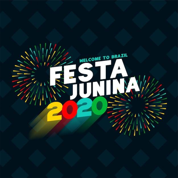 Fondo de diseño de cartel de celebración de festa junina 2020 vector gratuito