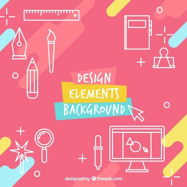 Fondo de diseño de elementos vector gratuito