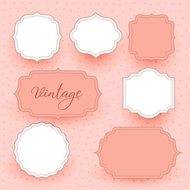Fondo de diseño de etiquetas de marcos vacíos de boda vintage vector gratuito
