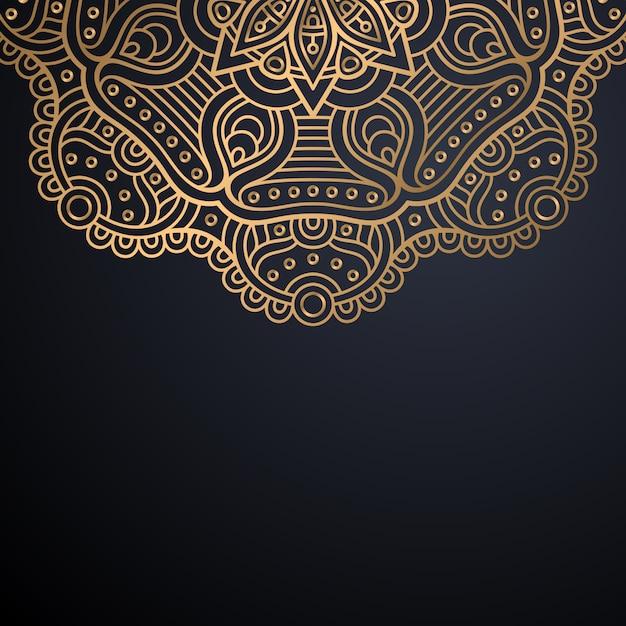 Fondo de diseño de mandala ornamental de lujo en color dorado vector gratuito