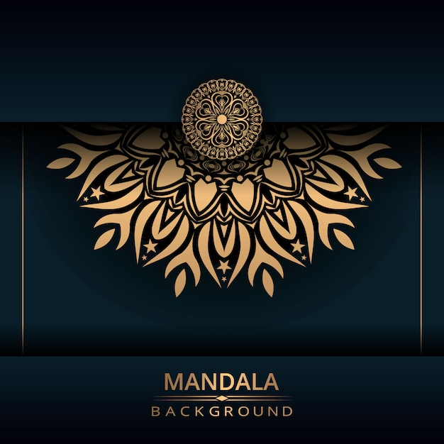 Fondo de diseño de mandala ornamental de lujo con color dorado Vector Premium