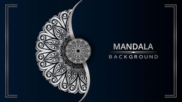 Fondo de diseño de mandala ornamental de lujo con color plateado Vector Premium