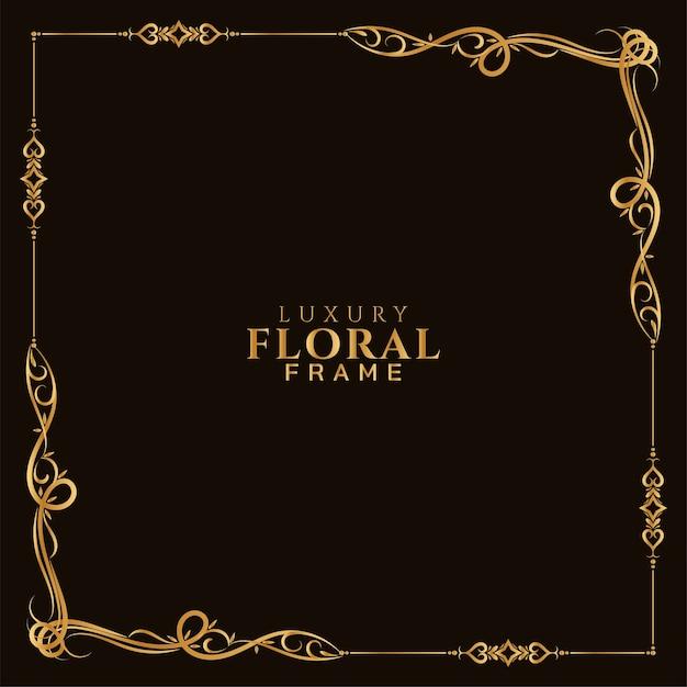 Fondo de diseño de marco floral dorado decorativo vector gratuito