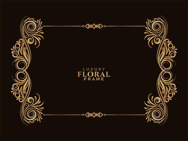 Fondo de diseño de marco floral dorado ornamental vector gratuito