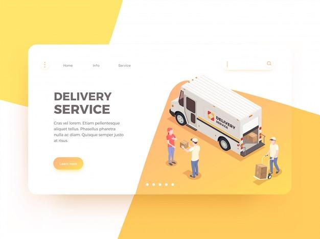 Fondo de diseño de página de aterrizaje web isométrica de envío de entrega con enlaces clicables texto e imágenes editables ilustración vector gratuito
