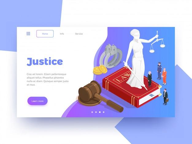 Fondo de diseño de página de sitio web isométrico de justicia de justicia con aprender más imágenes de enlaces de botón e ilustración de texto vector gratuito