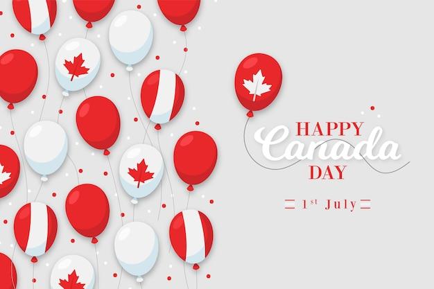 Fondo de diseño plano del día de canadá con globos vector gratuito