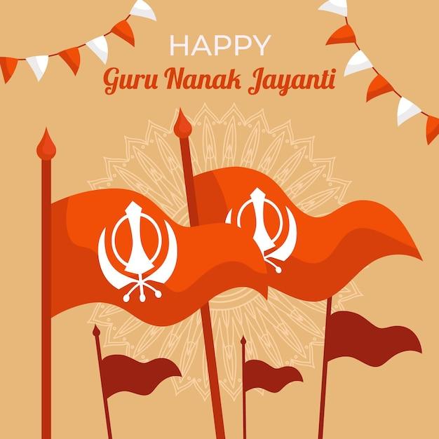 Fondo de diseño plano guru nanak jayanti con banderas Vector Premium