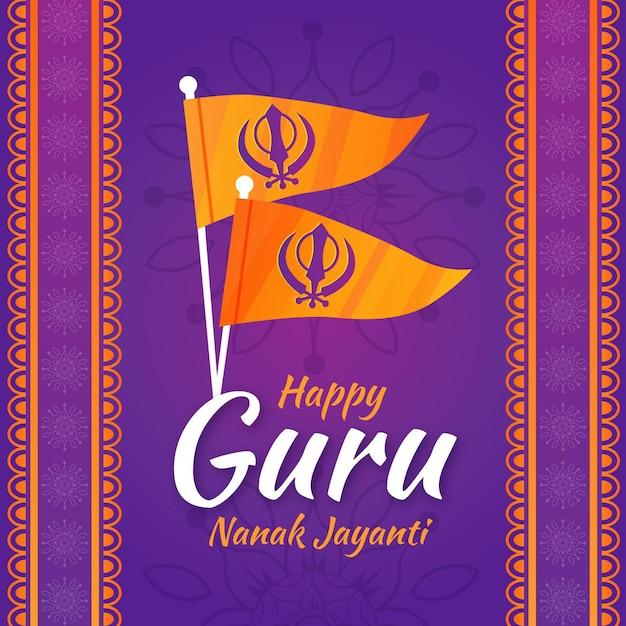 Fondo de diseño plano de guru nanak jayanti con banderas Vector Premium