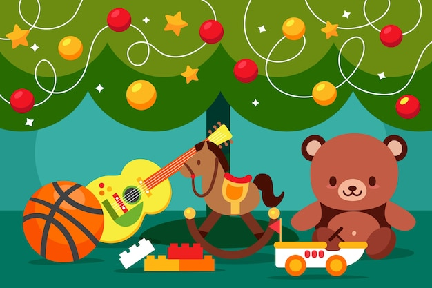Fondo de diseño plano de juguetes de navidad vector gratuito