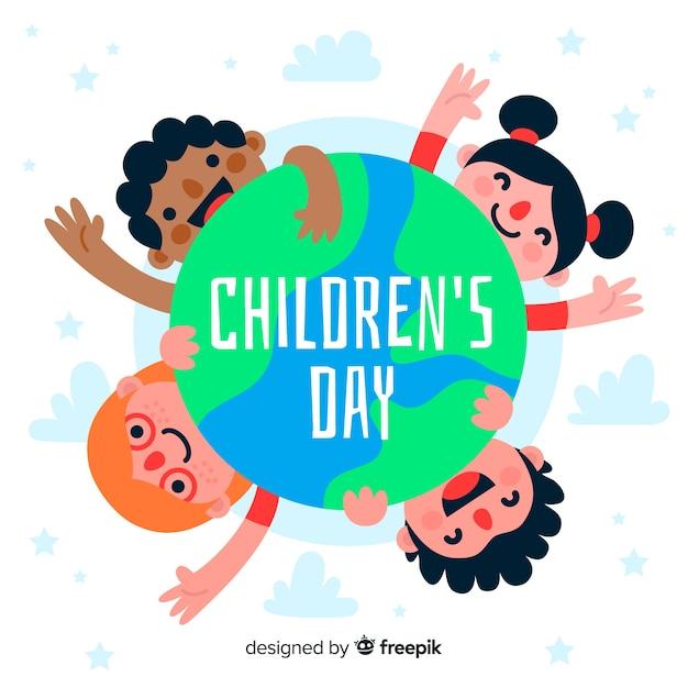 Fondo de diseño plano de niños de todo el mundo vector gratuito