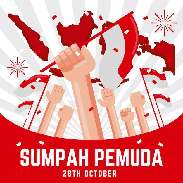 Fondo de diseño plano sumpah pemuda con manos y banderas vector gratuito