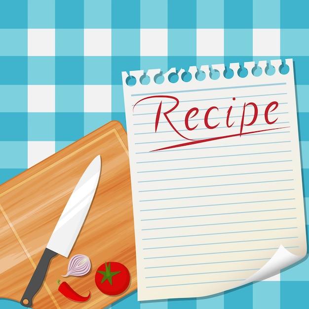 Fondo de diseño de receta de cocina | Descargar Vectores Premium