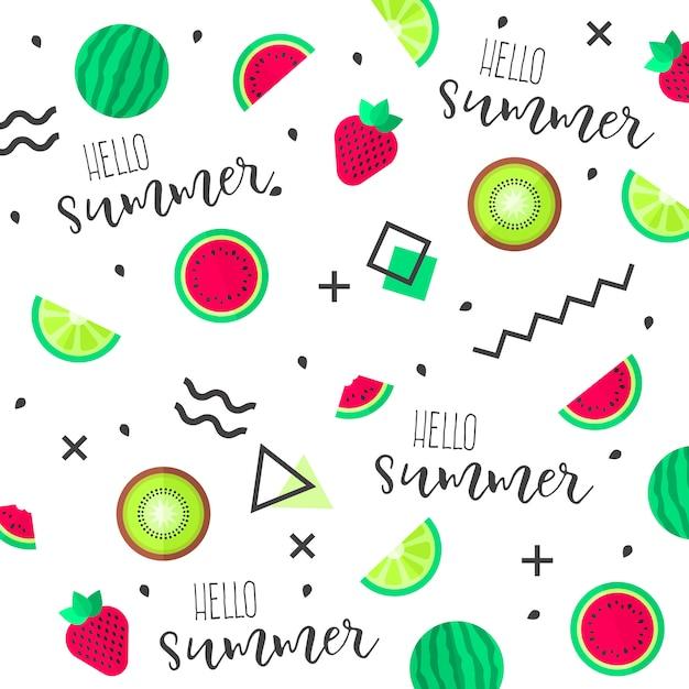 Fondo divertido de frutas tropicales Vector Premium