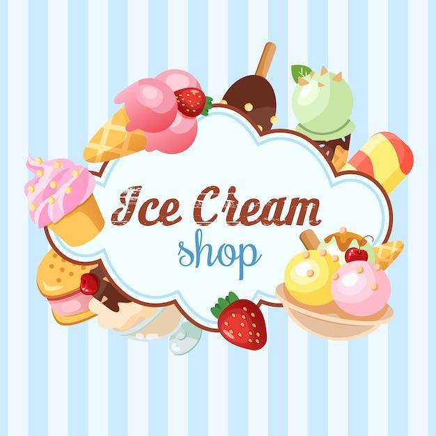 Fondo divertido del helado. vector gratuito