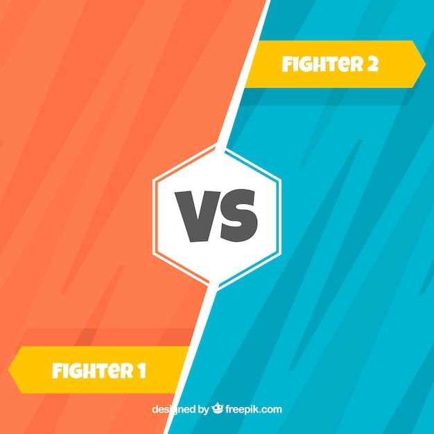 Fondo divertido de versus con diseño plano Vector Premium