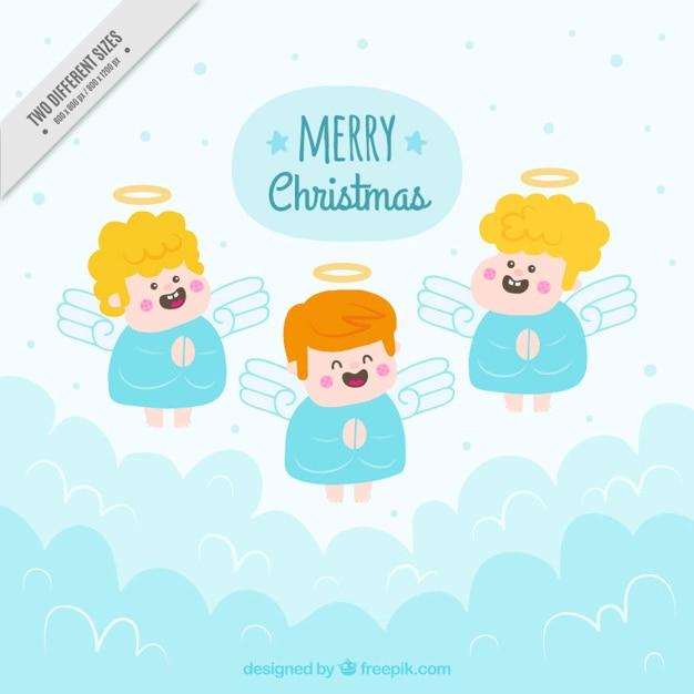 Fondo De Divertidos ángeles En El Cielo Dibujados A Mano Descargar