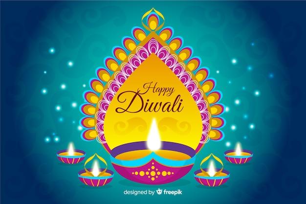 Fondo diwali dibujado a mano vector gratuito