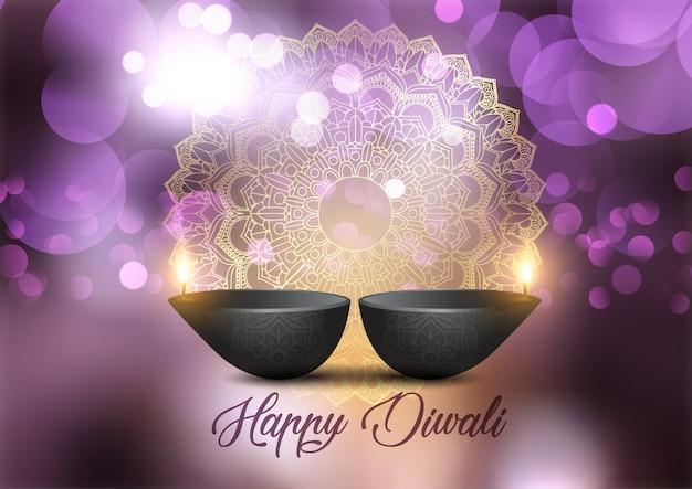 Fondo de diwali con diseño de lámparas y luces bokeh vector gratuito