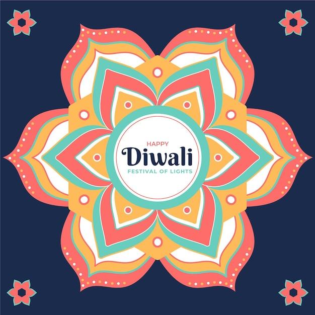 Fondo de diwali de diseño plano con mandala y flores vector gratuito