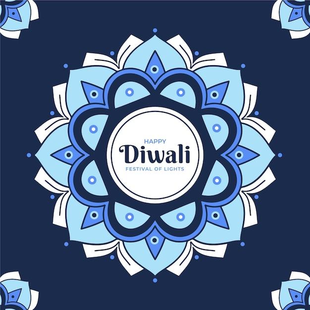Fondo de diwali de diseño plano con mandala vector gratuito