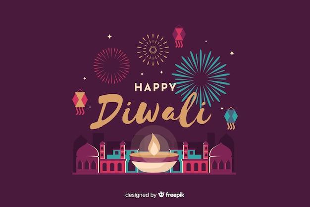 Fondo de diwali en diseño plano vector gratuito