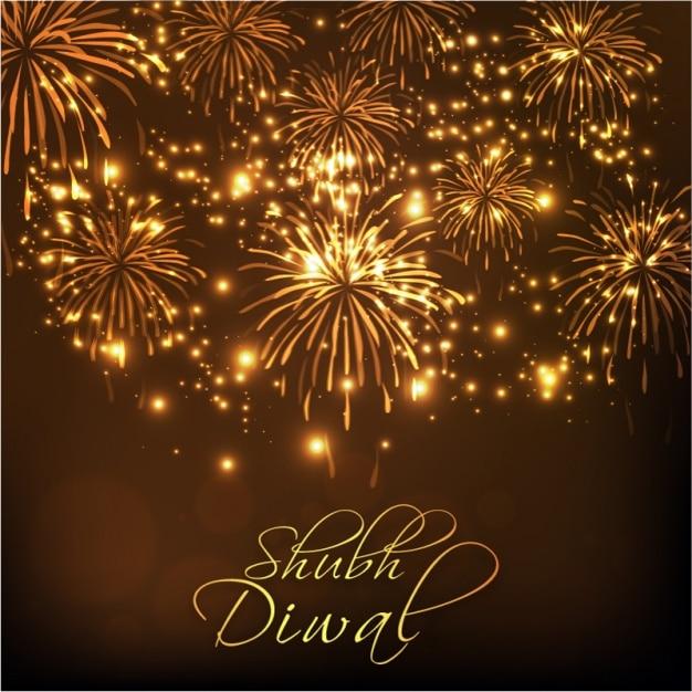 Fondo De Diwali Con Fuegos Artificiales Dorados Descargar Vectores