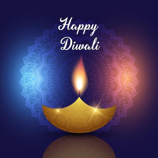Fondo de diwali con lámpara de aceite en diseño decorativo mandala vector gratuito