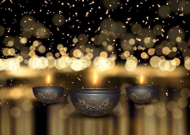 Fondo de diwali con lámparas de aceite y confeti dorado. Vector Premium