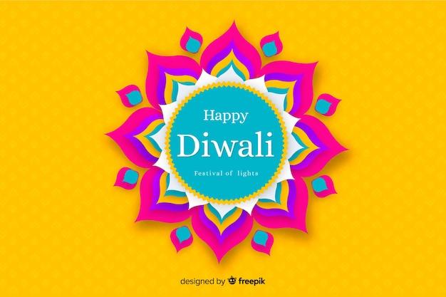 Fondo de diwali en papel estilo en tonos amarillos vector gratuito