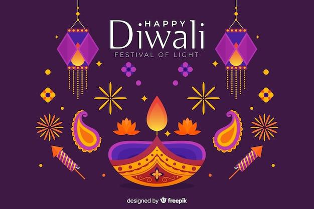 Fondo de diwali plano de luces de colores vector gratuito