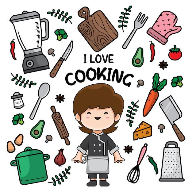 Fondo de doodle de cocina Vector Premium