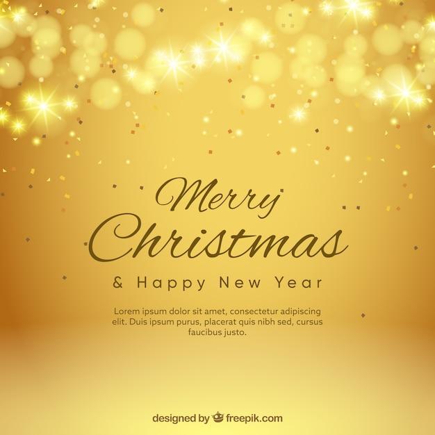 Fondo dorado bokeh de feliz navidad  Vector Gratis