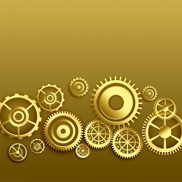 Fondo dorado de engranajes metalizados. vector gratuito
