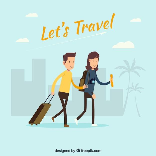 Fondo de dos turistas vector gratuito