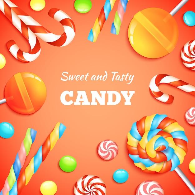 Fondo de dulces y caramelos vector gratuito