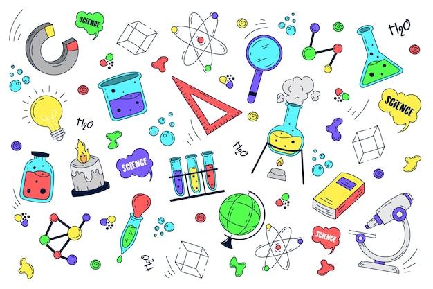 Fondo de educación científica dibujado a mano vector gratuito