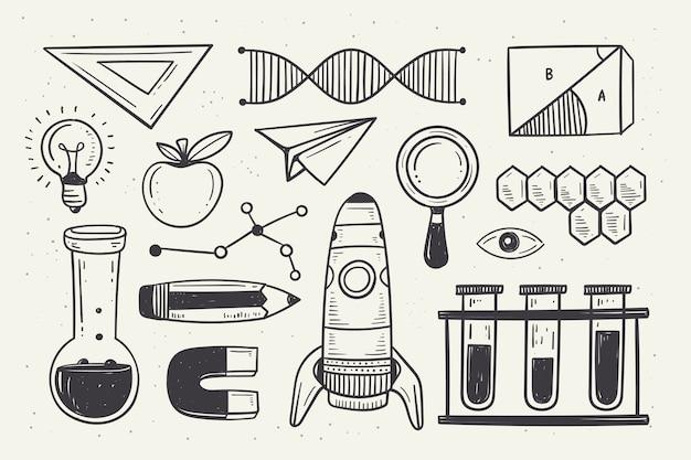 Fondo de educación científica vintage vector gratuito