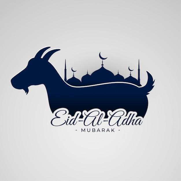 Fondo eid al adha mubarak con cabra y mezquita. vector gratuito