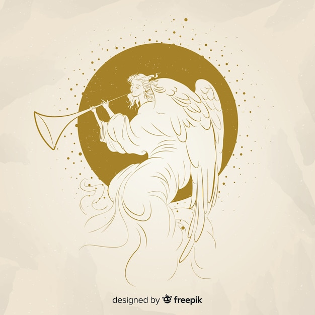 Fondo elegante de ángel de navidad dorado vector gratuito