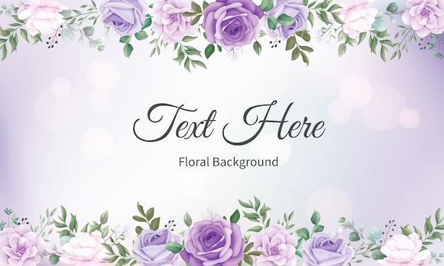 Fondo elegante marco floral con hermosas flores vector gratuito