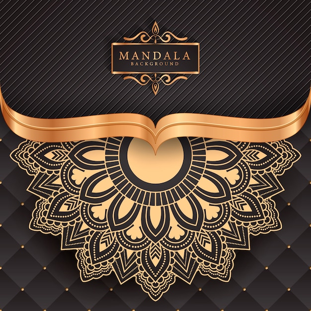 Fondo de elemento étnico decorativo mandala de lujo Vector Premium