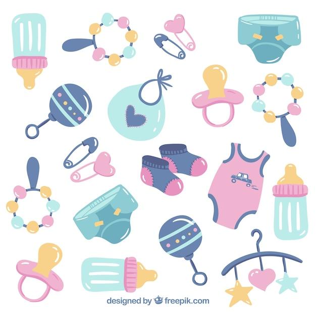 Fondo de elementos de bebé con lindos juguetes y ropa Vector Premium