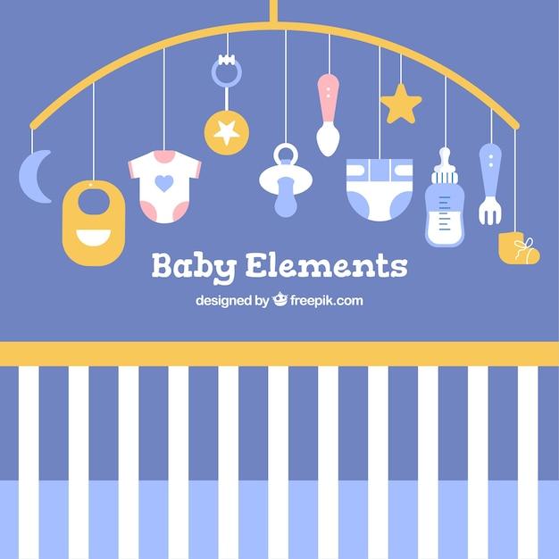 ae5f5a2c4 Fondo de elementos de bebé con lindos juguetes y ropa