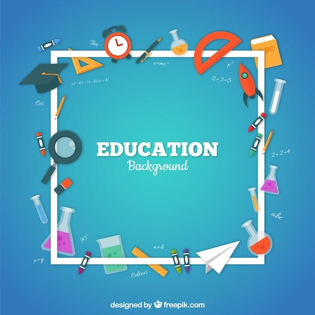 Fondo de elementos de educación en estilo plano vector gratuito