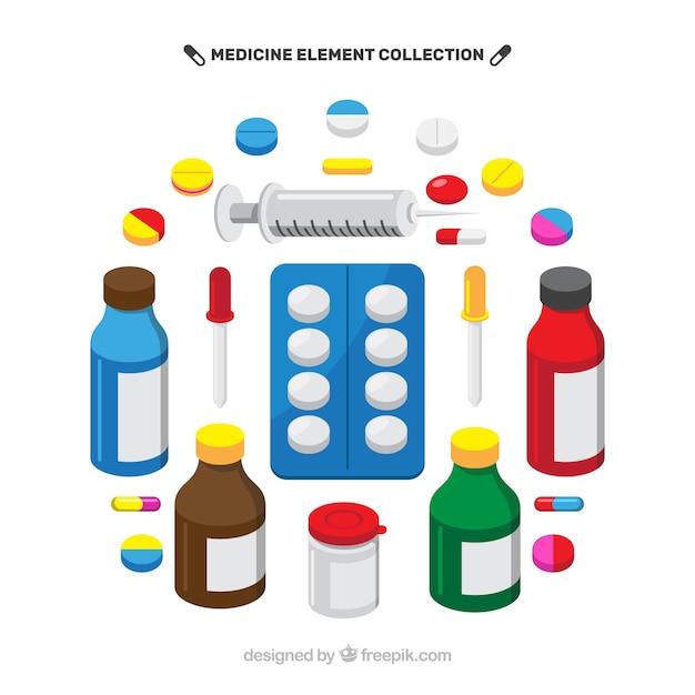 Fondo de elementos de medicina en estilo plano vector gratuito