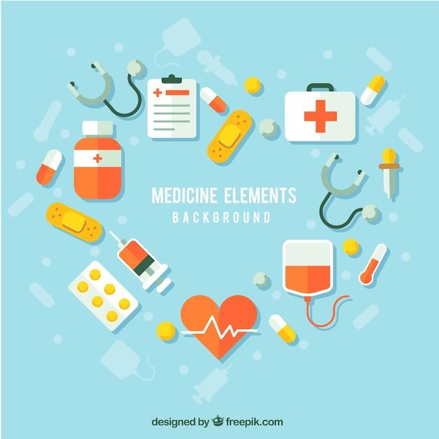 Fondo de elementos de medicina en estilo plano Vector Premium