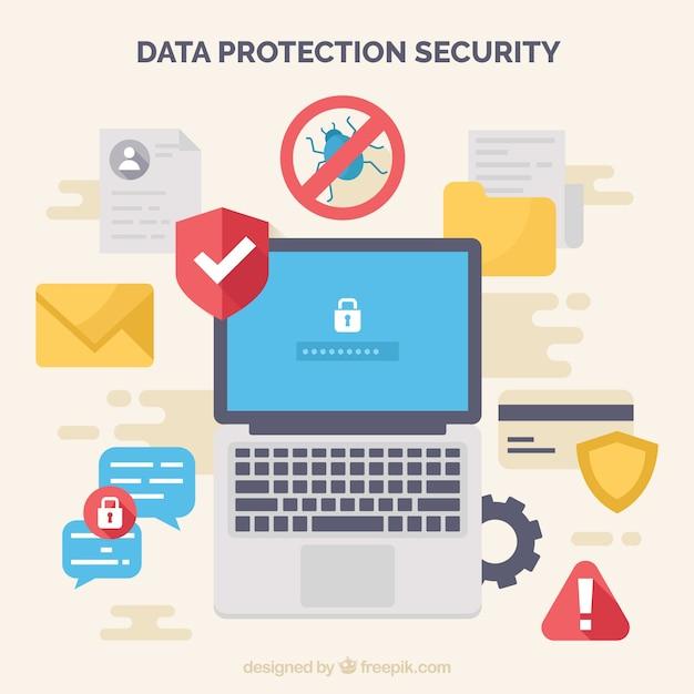 Fondo de elementos para proteger los datos en diseño plano vector gratuito